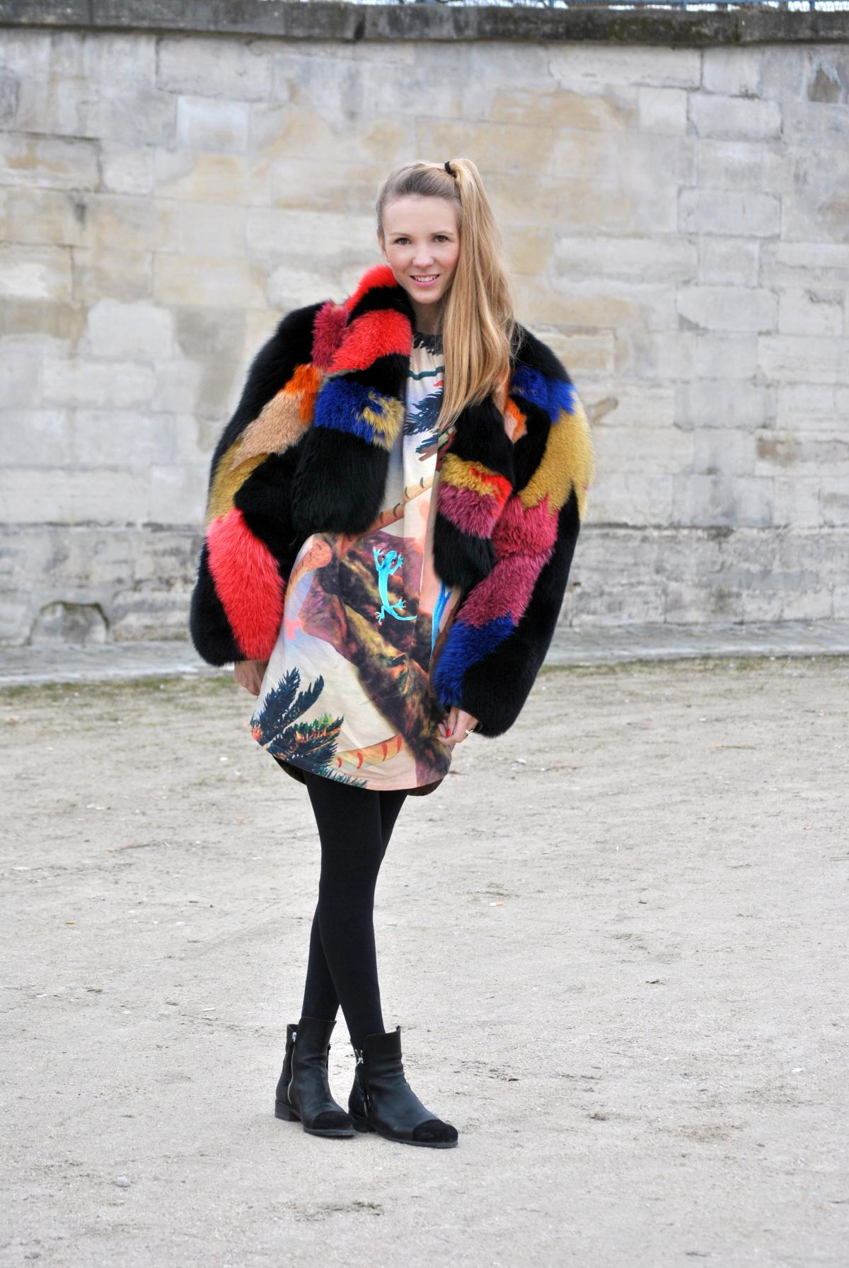 Paris | Colourful Fur Coat